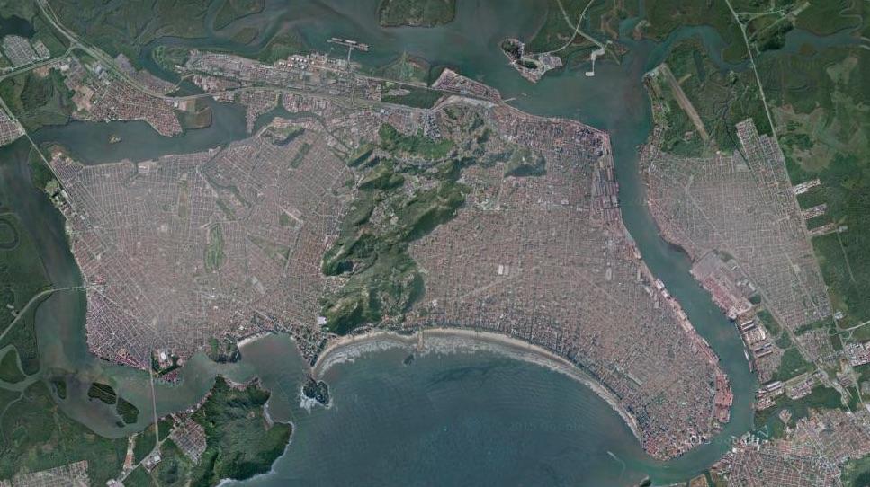 Imagem satélite Santos